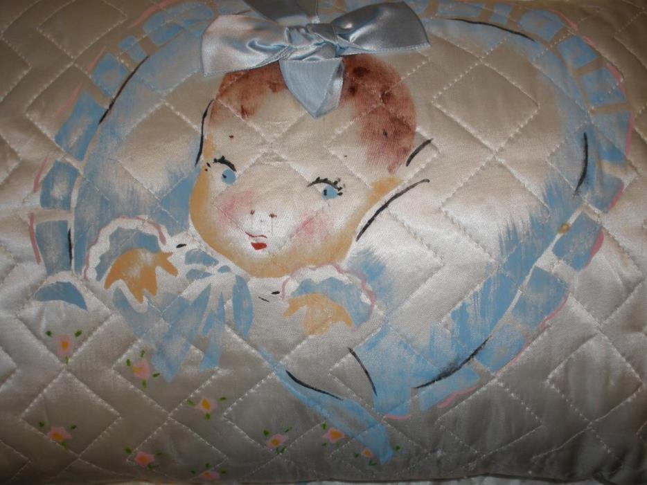 VINTAGE SATIN BABY QUILT AND MATCHING PILLOW