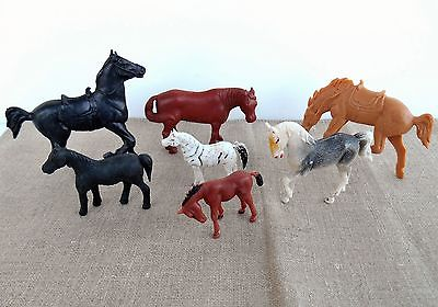 Vintage Lot Of 7 Plastic Toy Horses Black Brown White