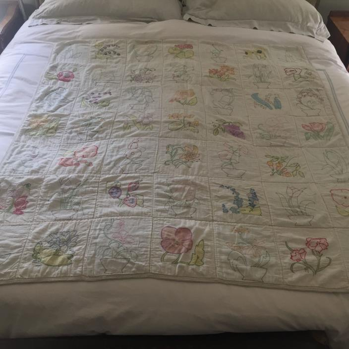 VINTAGE FLOWER GARDEN EMBROIDERED & HAND PAINTED QUILT