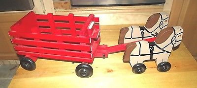 wooden farm toys ***  Horses and wagon ***