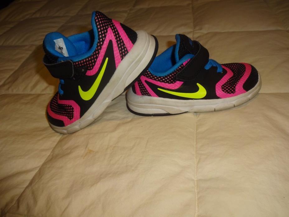 Little Girls Nike Premier Shoes, Size 8 8C, Black w/bright pink & blue