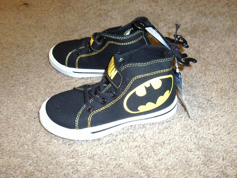 Batman Boys Toddler Vintage Black & Yellow High Top Shoes Size 9