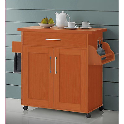 Kitchen Island Cart On Wheels With Wood Top Rolling Storage Cabinet Cherry Table