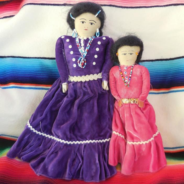Vintage Cloth Navajo Native American Indian Dolls Pink Purple Velvet Clothes