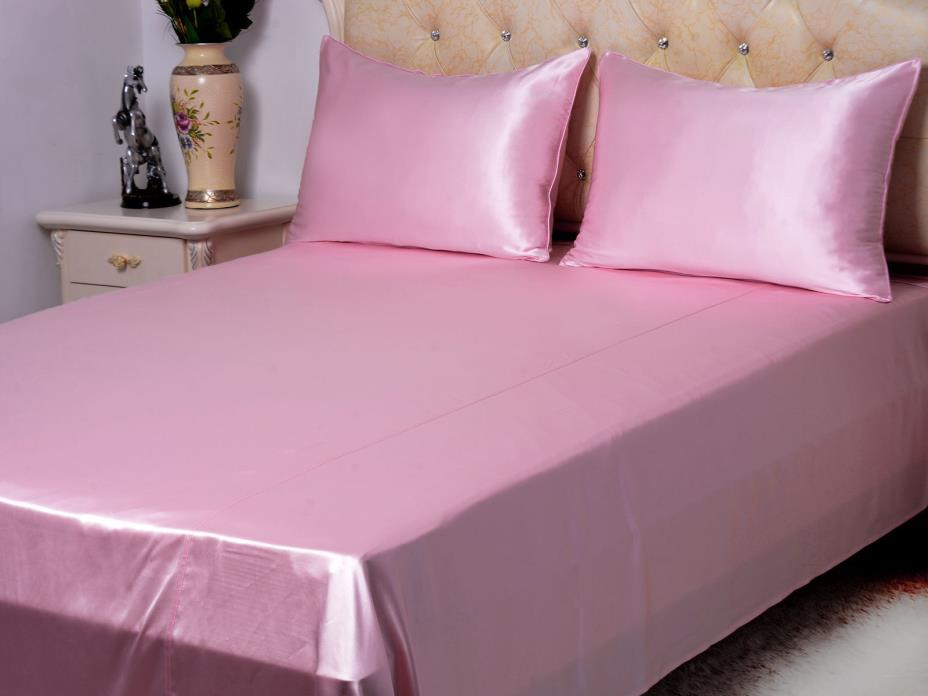 NEW COMFORT SOFT FULL PINK SILK~Y SATIN BED SHEETS + PILLOWCASES SET