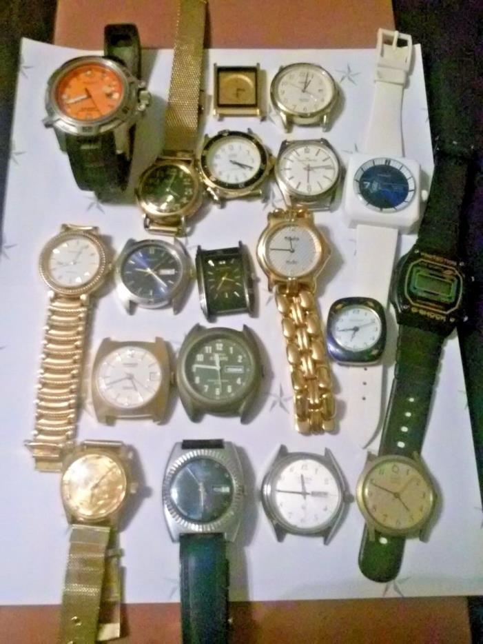 Watch Lot Mens Timex, Citizen, Dufonte,Guess, Bradley, Pulsar Many Run