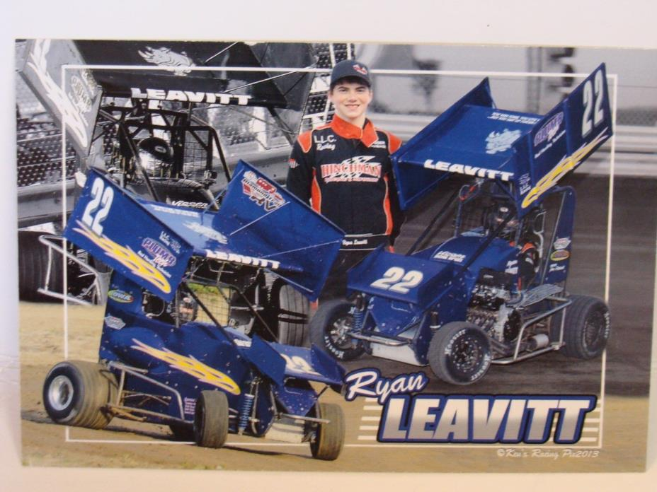 Ryan Leavitt Winged Mini Sprint Car Racing Postcard