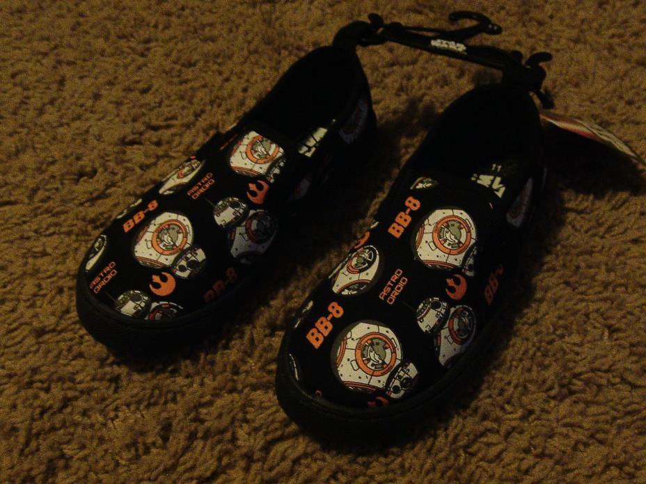 Star Wars Boys Toddler Black & Orange BB-8 Droid Robot Slip on Shoes Size 8