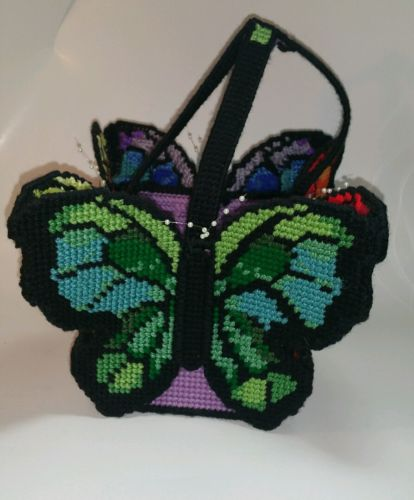 HANDMADE Plastic Canvas Butterfly Tissue box holder