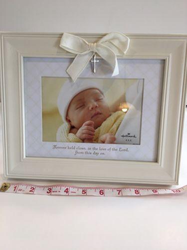NEW Hallmark Christening Picture Frame Baptism Baby Cross Christian