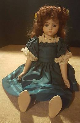 1984 Antique Vintage Hand Painted&Handmade Porcelain Doll Pose-able Green Dress