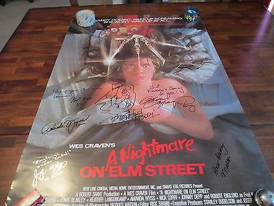 27x40 Nightmare on Elm Street poster Autographed by 6 Robert Englund Heather Lan
