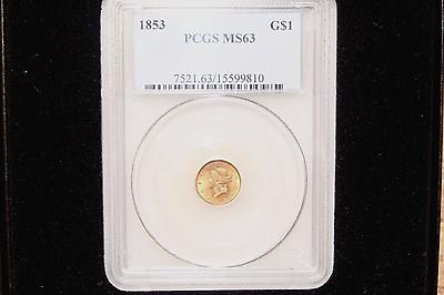 1853 G$1 Liberty Head Gold Dollar MS63