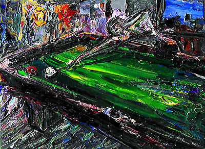 Original OIL Pool Table Art Painting Arthur Robins NYC Art Billiards POOL CUE nr