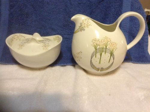 Vtg Eva Zeisel for Hallcraft Hall China Buckingham Cream Pitcher And Sugar Bowl