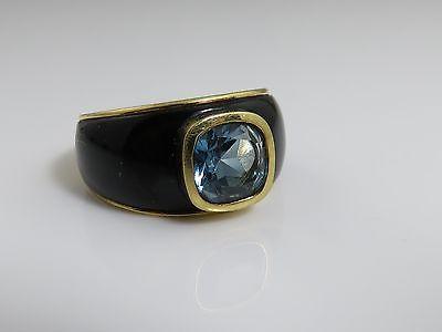 Vintage 18K Yellow Goldd Black Coral Topaz Ring