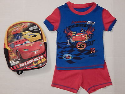 SIZE 4 PJS  CARS LIGHTNING McQUEEN DISNEY STORE PAJAMAS & CARS BACKPACK