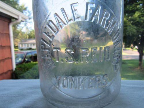 TREQ Milk Bottle Mapledale Farm Dairy TS Reid Yonkers NY WESTCHESTER CO VERY OLD