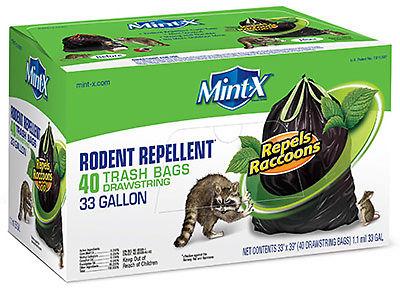 Mint X MX3339B40DS Rodent Repellent Trash Bags, Drawstring, 33-Gal. - Quantity 1