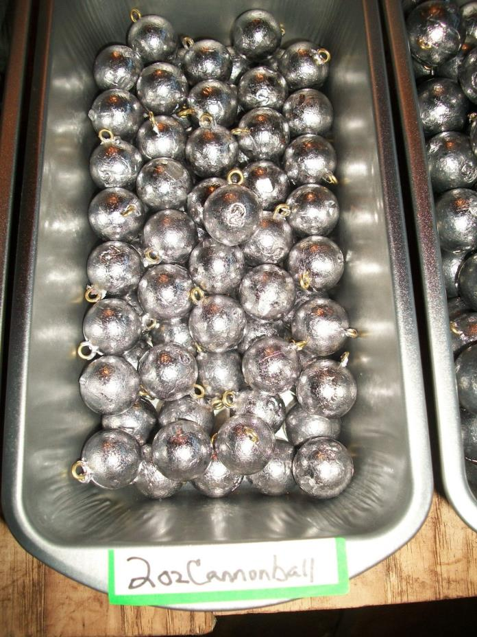 lot of 100 - 2 oz cannonball sinkers / fishing weights / FREE SHIPPING