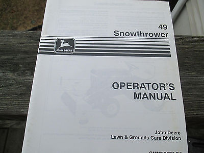 John Deere # 49 snow blower Operator's Manual