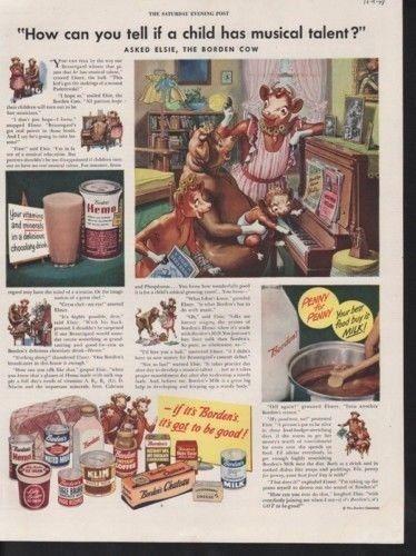 1948 BORDEN COW DAIRY PIANO MUSIC COOK FOOD CALF MILK-[SKU]