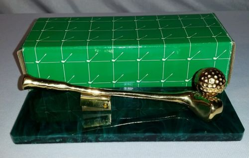Russ Berrie Desktop Clip Holder Gold Golf Club Office Accessory Green Home Decor
