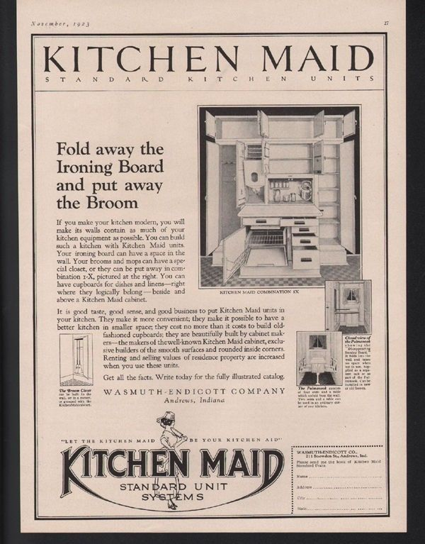1923 KITCHEN MAID KITCHEN DECOR CABINET ANDREWS INDIANA COOK FOOD ART AD-[SKU]