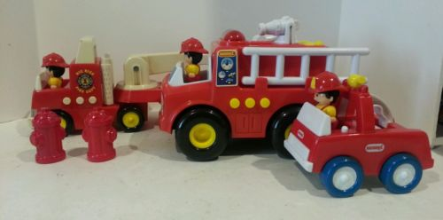 Lot of 3 Buddy L, Motorized, Lights and sounds fire trucks ,2002 imperial Toy co