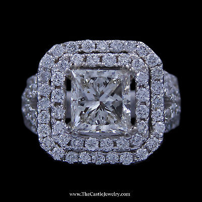 Stunning Princess Cut Diamond Engagement Ring w/ Double Round Diamond Bezel