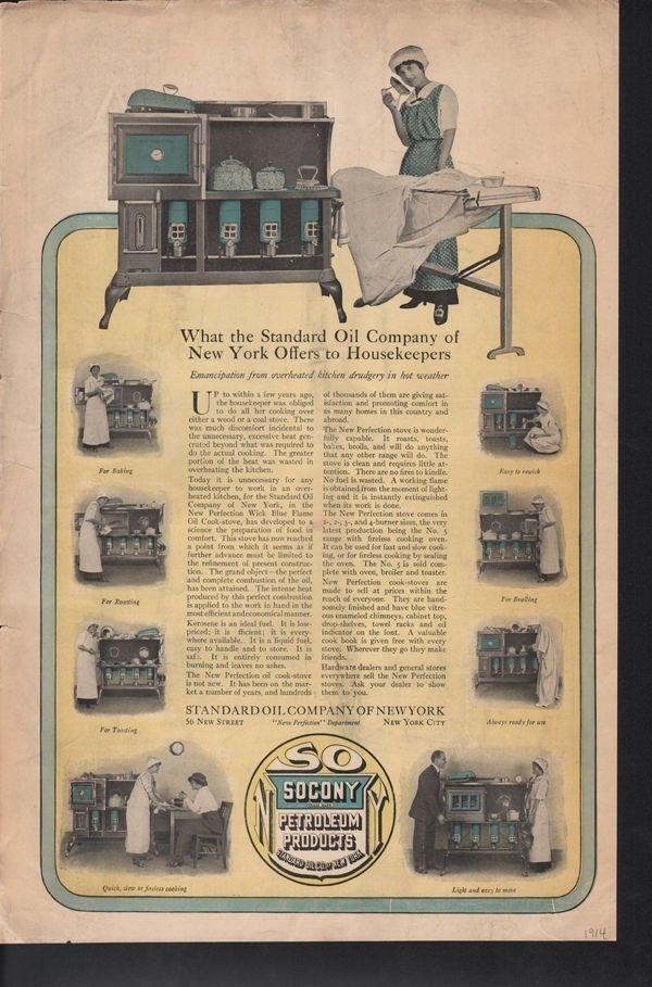 1914 SOCONY PETROLEUM KITCHEN APPLIANCE OVEN STOVE AD -[SKU]