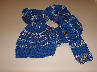 Misses Blue Variegated Handmade Scarf & Hat Set