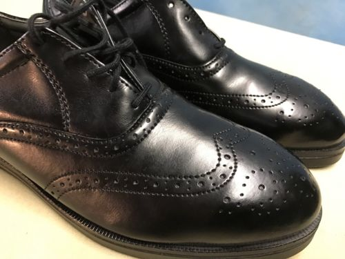 Red Wing Shoes WingTip Oxfords Black Leather Steel Toe USA Made Men's 7D 8701