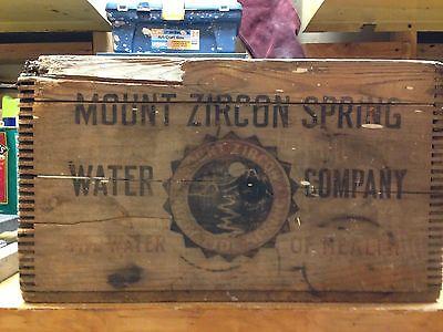 Vintage Mount Zircon Water Wooden Soda Bottle Crate