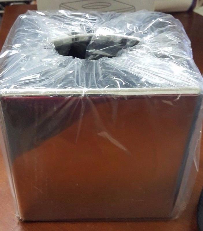 Chrome Coloured Cube Tissue Holder/Box