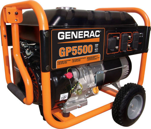 Generac 5500 Watt Gas Portable Generator On Wheels