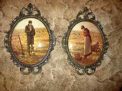 Vintage Set Oval Convex Pictures Ornate Metal Frame Praying Farmer & Wife HOMCO