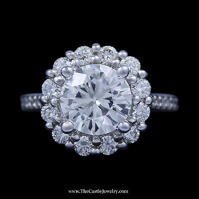 Round Brilliant Cut 2.68ct  Diamond Engagement Ring w/ Round Diamond Halo in 14K