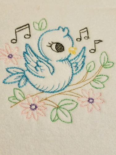 Handmade Personalized Embroidery Fleece Baby Blanket With a Baby Blue Bird
