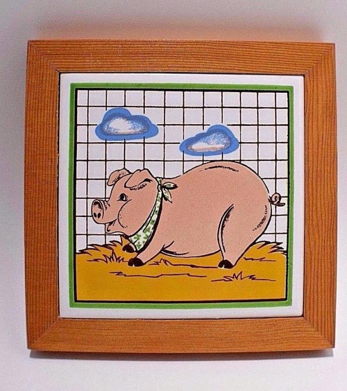 Decorative Pig Hog Ceramic Tile Wall Decor
