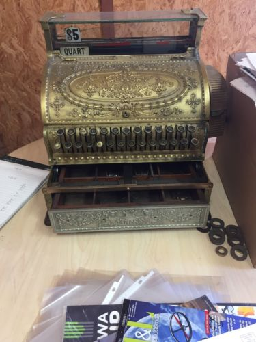 antique national brass cash register