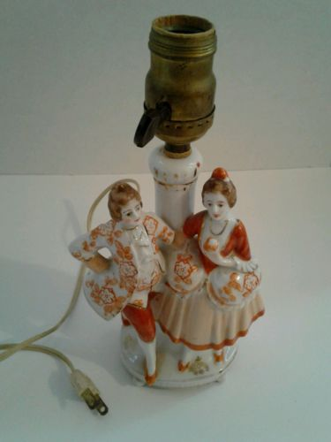 Vintage 1940's Japanese Figurine End Table Lamp (Rare Color Combination!) RARE