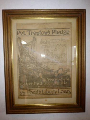 WW1 Private Treptow's Pledge Original News Paper Poster September 28th, 1918