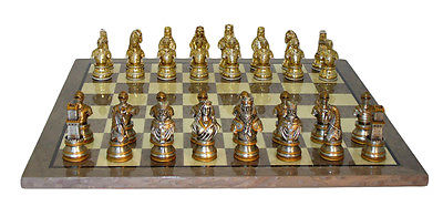 Camelot Pewter Chess Set Grey Briar Board
