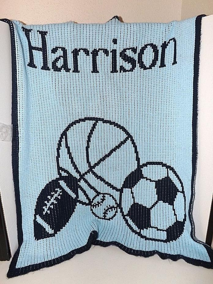 Lillian Vernon Personalized Name Harrison Baby Boy Sports Blue Quilt Blanket