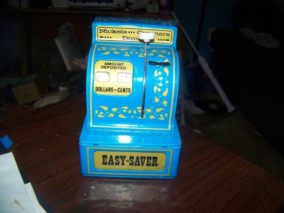Vintage Tin Cash Register Buddy L Easy Saver Works /Hong Kong 1970s