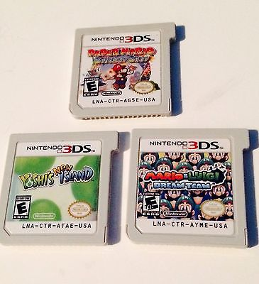 Nintendo 3DS Video Game LOT Mario & Luigi RPG, Yoshi's Island & Paper Mario