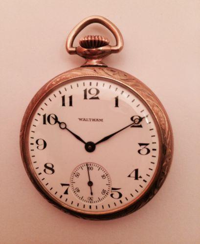 American Waltham Watch Co Open Face Pocket Watch 17 Jewels GF Case