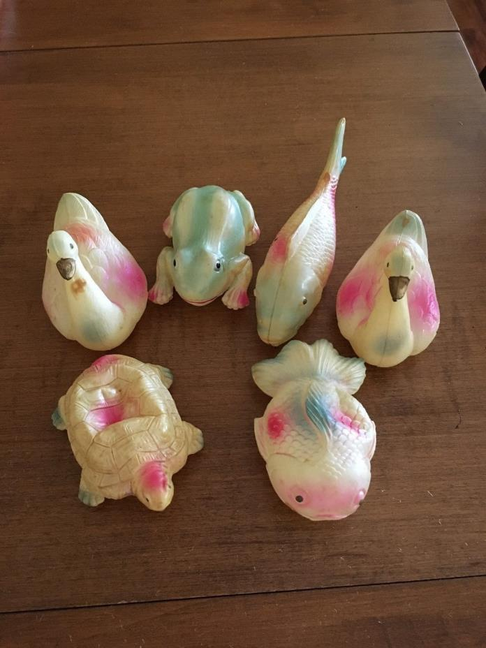 ANTIQUE VINTAGE CELLULOID TOY LOT FROG FISH SWANS TURTLE