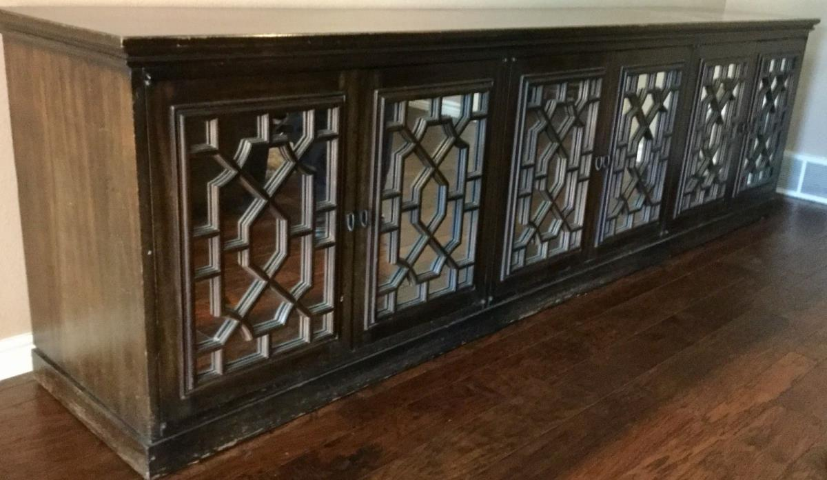 Chinese Chippendale  Baker Fretwork Credenza Hollywood Regency mirrored doors